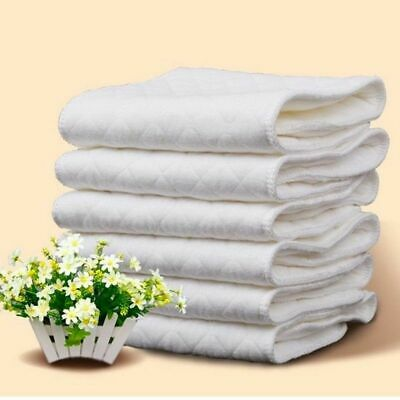 100Pcs Breathable Baby Cotton Washable Reusable Soft Cloth Diaper Diapers Insert