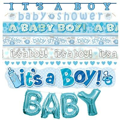 BABY SHOWER BOYS BANNER - Boy Party Decorations, Blue, Foil, Jointed, Ribbon