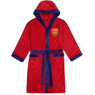 Arsenal FC Official Football Gift Mens Hooded Fleece Dressing Gown Robe