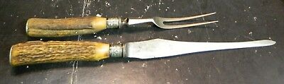 Antique Antler Handled (2) Piece Joseph Rodgers & Sons England Carving Set Good