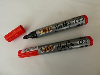 Lot de 2 MARQUEURS Rouge  Permanent BIC   Marking 2000.