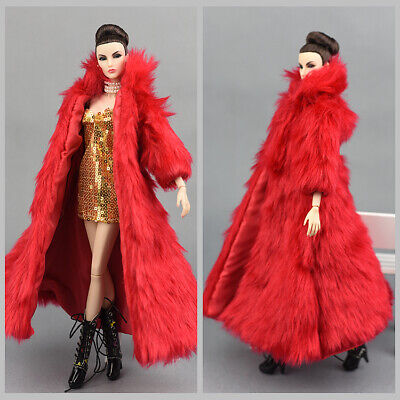 2 Pcs Fashion Red Long Fur Coat +dress  Clothes/Outfit For 11.5in.Doll