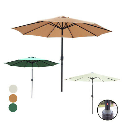 Garden Parasol Patio Table Umbrella 2.7M Solar Power LED Crank Tilting Sun Shade