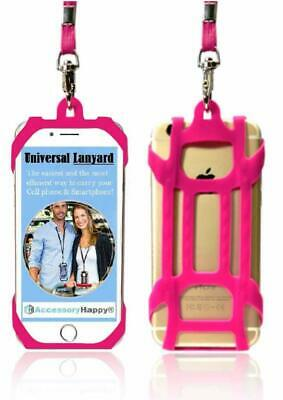 Pink Universal 2 in 1 Lanyard Card Holder, Cell Phone Tether Silicone Neck Strap