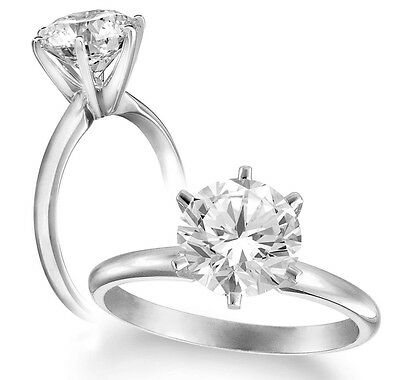 1.05 Ct Round Diamond F Vs1 Certified Solitaire Engagement Ring 14K White Gold