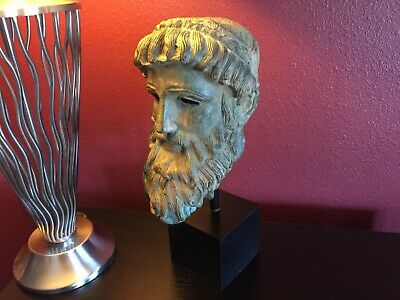 MUSEUM QUALITY HEAVY BUST: Bronze Bust of Greek God Zeus on a Display Stand