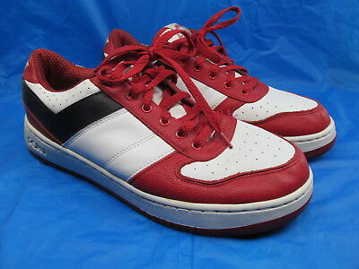 bd2b2cec7374 Pony Men s City Wings Chevron Design Lo Used Sneakers Red Black White Size  12