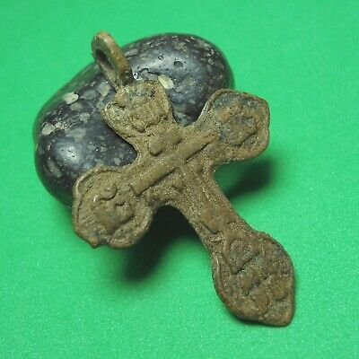 Ancient Bronze Cross Wearable Pendant Antique Rare C135