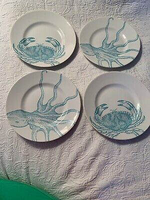 222 FIFTH Coastal Life Blue 2 Crab And 2 Octopus Dinner Plates 9""