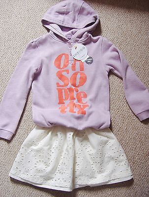 Girls 2 Piece Outfit Of Hoodie With Detachable Skirt From M&S Ages 3 To 7 Yrs