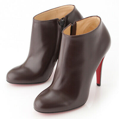 5745ec77f31 AUTHENTIC CHRISTIAN LOUBOUTIN Suede Spike Open Toe Booties Camel ...