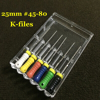 10 Packs Dental K-FILES 25mm #45-80 Stainless Steel Endo Root Canal Hand Use