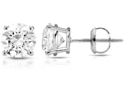 1.05 CT F VS2 Round Cut Natural Diamond Certified Stud Earrings 14K White Gold