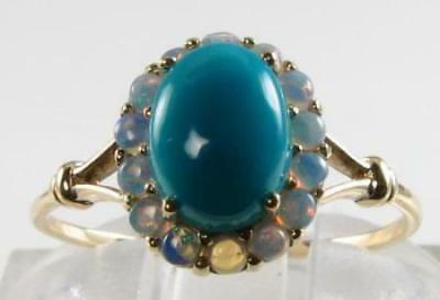 Lovely 9Ct 9K Gold Persian Turquoise & Aus Opal Cluster Art Deco Ring Free Size