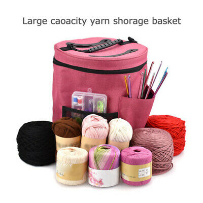 Oxford Cloth Storage Bag Yarn Wool Holder Woven Craft Rose Red DIY Organizer