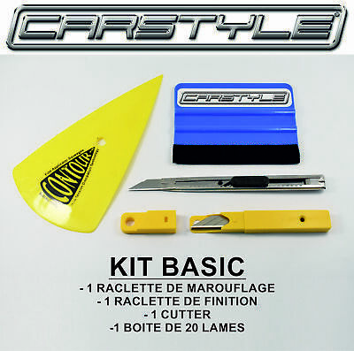 "Kit ""Basic"" Outillage Pose Adhesifs Et Film Teint- Covering 2 Raclettes- Cutter"