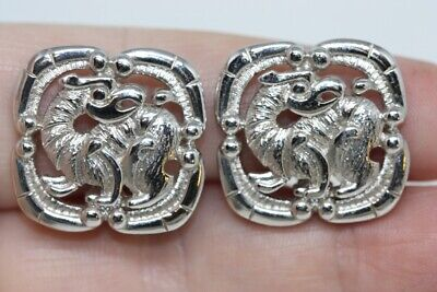Vintage MONET Silver Tone Lever Clip Earrings Shield Griffin Gryphon Eagle Lion