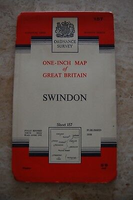 Vintage 1958 'Swindon' One Inch Ordnance Survey Map/Poster on Paper