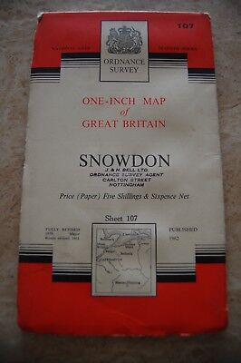 Vintage 1962 'Snowdon' Ordnance Survey One Inch Map/Poster on Paper