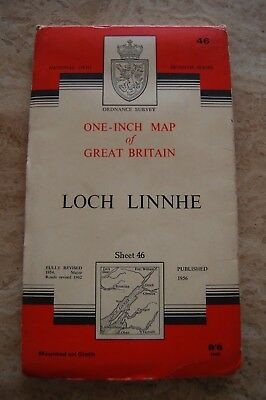 Vintage 1957 'Loch Linnhe' One Inch Ordnance Survey Map/Poster on Cloth