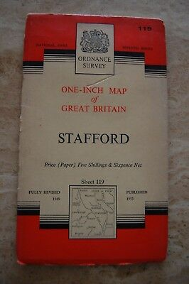 Vintage 1953 'Stafford' One Inch Ordnance Survey Map/Poster on Paper