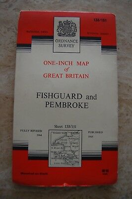 Vintage 1965 'Fishguard & Pembroke' One Inch Ordnance Survey Map/Poster on Cloth