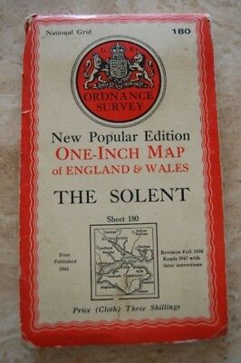 Vintage 1945 The Solent Ordnance Survey Map/Poster on Cloth