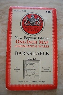 Vintage 1946 'Barnstaple' Ordnance Survey One Inch Map/Poster on Cloth
