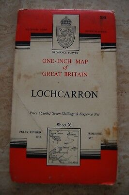 Vintage 1957 'Lochcarron' One Inch Ordnance Survey Map/Poster on Cloth