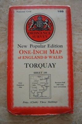Vintage 1946 'Torquay Ordnance Survey One Inch Map/Poster on Cloth