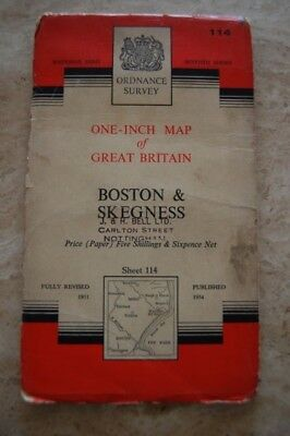 Vintage 1954 'Lincoln & Grantham One Inch Ordnance Survey Map/Poster on Paper