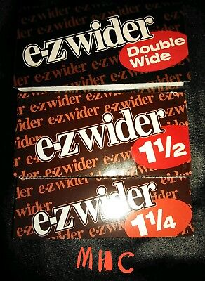 3 Books! E-Z WIDER 3 Sizes Cigarette Rolling Papers! (1.25 1.5 Double Wide)