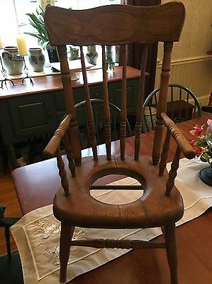 Antique Oak Child's Potty Chair
