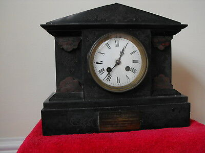 Antique Black slate/marbel MANTEL CLOCK with comemorative plaque dated 1899