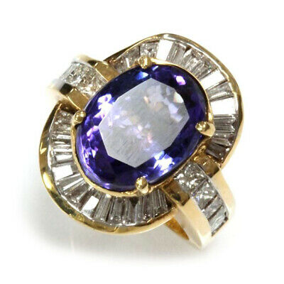 9.6 ct Natural Blue Violet Tanzanite Diamond Solid 14k Yellow Gold Cocktail Ring