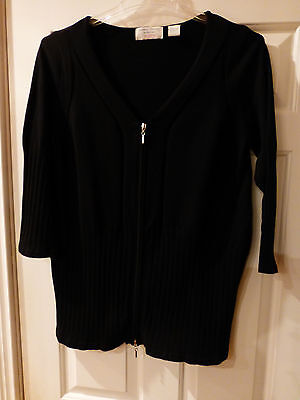 9af0ddc76ea06 Nwot Lindsay Stevens Maternity Sweater Cardigan Black Rib Knit Cotton Large