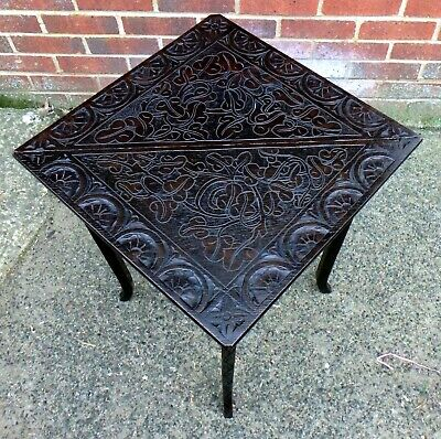 Victorian antique Arts & Crafts solid carved bog oak dropleaf occasional table