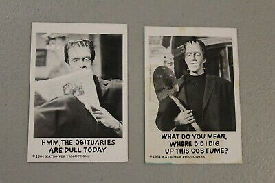 THE MUNSTERS trading card #7 & 23 Leaf Brands U.S.A 1964 Kayrovue Herman TV Show