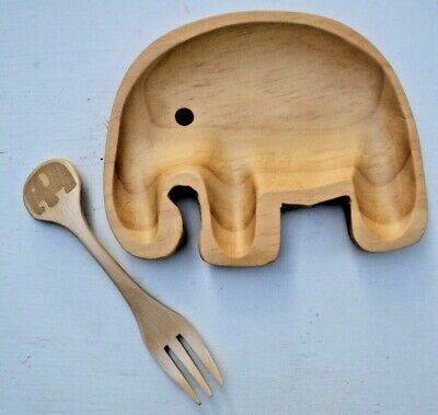 Petits Et Maman Kids' Wood Elephant Fork and Plate