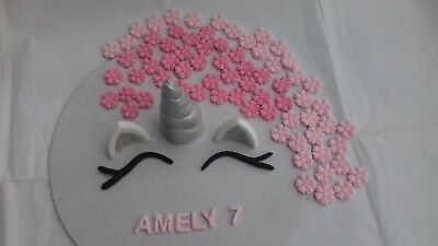Silver Unicorn horn, Ears, Lashes, Pink flowers Personalised Edible Cake Topper