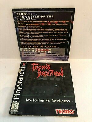 Tecmo's Deception PS1 Playstation Sony Manual Booklet Insert ONLY Cover Detached