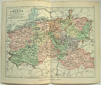 Original 1882 Map of The County of Limerick, Ireland by George Philip. Antique