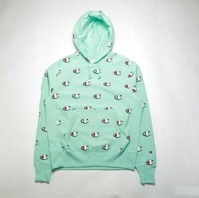 3fdcd8b61412 Champion Scribble Logo Rw Pullover Hoodie S2974Lmy Waterfall Green (Msrp   75)