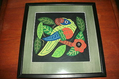 Framed Embroidery of Colorful Jungle Parrot in Flower Tree