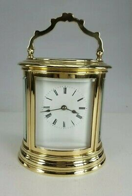 Antique Brass Striking Carriage Clock Large Case Oval