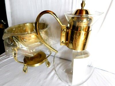 VINTAGE BRASS AND GLASS COFFEE /TEA CARAFE WITH WARMER in Original Box