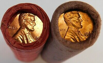 1961 D 1962 Obw Original Bank Wrapped Roll Bu Uncirculated Lincoln Cent Pennies