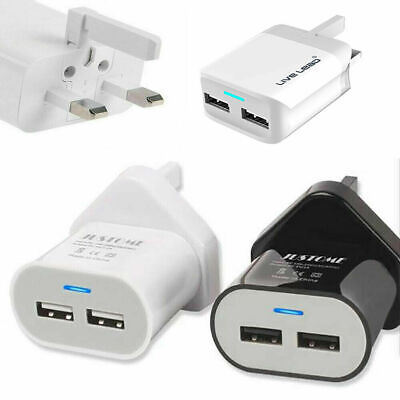 UK/EU Main Wall 3 Pin Plug Adapter Charger with 2 USB Ports for Phones Tablets