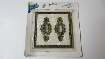 Hollywood Regency Faux Mother of Pearl & Gold Floral Double Light Switch Plate