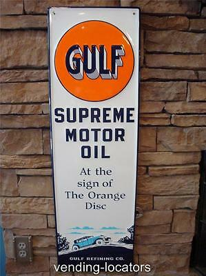 Gulf Supreme Motor OIL Metal SIGN USA Vintage Style Gas Advertising Signs New